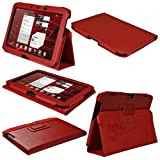 IGadgitz Red 'Portfolio' Leather Case Cover for Motorola Xoom 2 Droid Xyboard 10.1