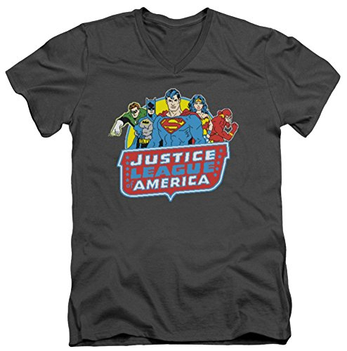 Justice League 8 Bit Leagues Slim Fit V-Neck T-Shirt