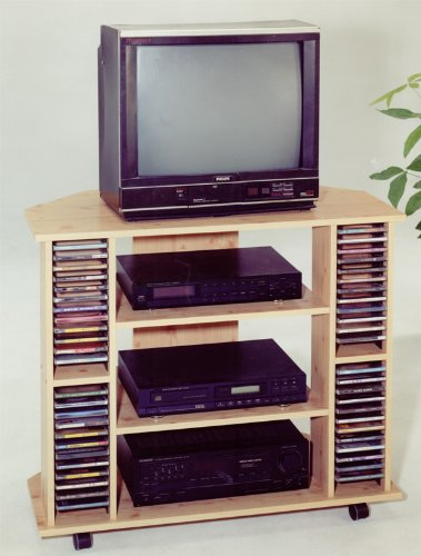 Cheap ABC Corner TV Stand with Cd Rack and Casters in Golden Beech Finish (ABC-2001N)