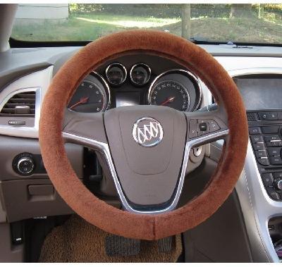 Short Plush Car Steering Wheel Cover Genuine Australia Sheepskin Lined with Rubber Ring Non-slip