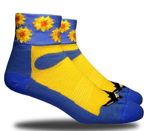 RHINO SOCKS SS series, Sunflower, bky blue/yellow, anklet sports cycling biking hiking running socks
