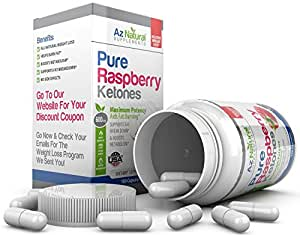 Az Naturals - Raspberry Ketones Plus 600mg - 1200mg - 180 Capsules - Fast Weight Loss Slimming Pills - Strong Natural Appetite Suppressant and Fat Burner