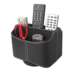 "KINGFOMâ""¢ Leather 360 Degrees Rotatable Remote Control Holder Desk Stationery Organizer Caddy for Cell Phone, CD and other Sundries (Black)"