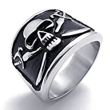 buy Mens Rings Stainless Steel Biker Pirate Skull Ring Silver Black Size 11 By Aienid