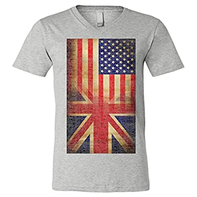 V-Neck T-Shirt: Vintage USA British Distress Flag