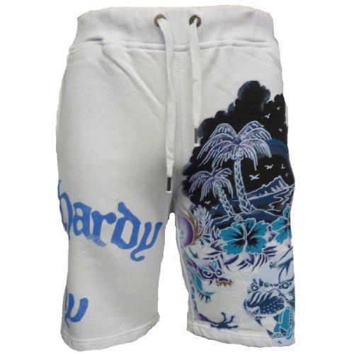 Ed Hardy Mens Aloha Beach Basic Shorts - White - Small
