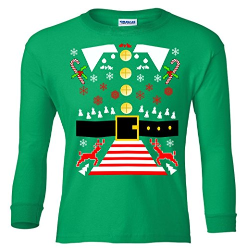 Long Sleeve Youth: Elf Costume Ugly Christmas Sweater Shirt