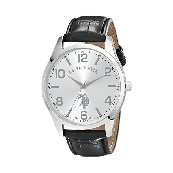 ASOCIACIÓN DE ESTADOS UNIDOS DE POLO. Reloj USC50224 clásico en tono plateado para hombre con banda de piel sintética negra