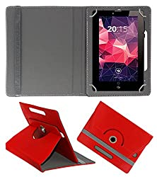 Acm Rotating 360° Leather Flip Case For Zebronics Zebpad 7t500 Tablet Cover Stand Red