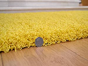 Soft Touch Shaggy Yellow Thick Luxurious Soft 5cm Dense Pile Rug. Available in 7 Sizes from Rugs Supermarket