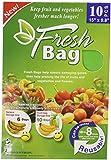 "Reusable Green Fresh Bags 15"" x 9.8"" - Prolong Fruits, Vegetable, Flowers & More! 10 PACK"