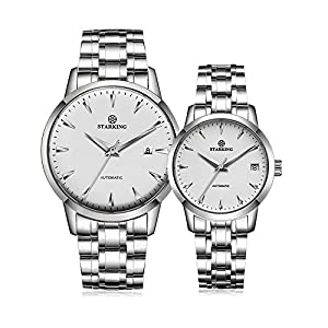 Starking Couple's AM/L184 Wrist Watches with Steel Band with Calendar Automatic Watch