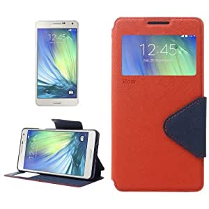 Cross Texture Horizontal Flip Leather Case with Card Slots & Call Display ID & Holder for Samsung Galaxy A7 (Orange)