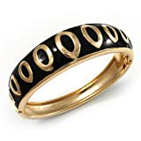 Jet Black Ornamental Enamel Hinged Bangle Bracelet (Gold Tone)