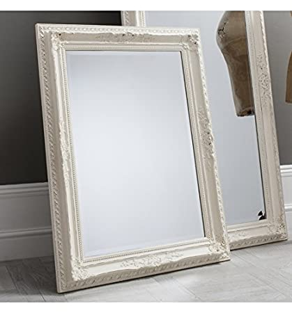 Buckingham Large White Rectangle Wall Mirror 45in x 33in