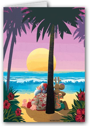 Tropical Sunset Christmas Card - Beach 12 cards/