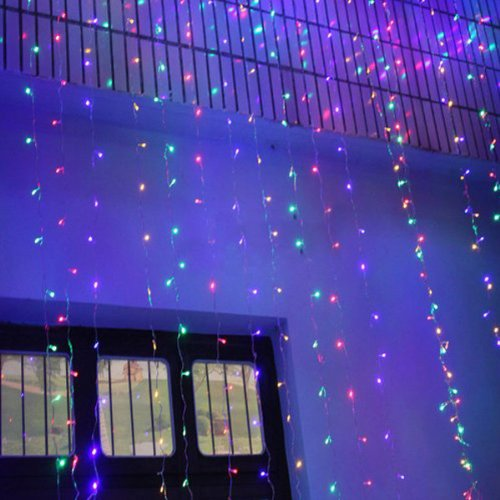 Hkbayi 480Led 3M*3M Curtain String Lights Christmas Garden Lamps Lights Xmas Wedding Party Decorations Rgb Colorful