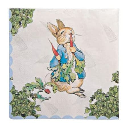 A lovely napkin set for a child's party featuring the classic illustrations of Beatrix Potter from her fabulous Peter Rabbit story and including Peter and Jemima Puddle Duck