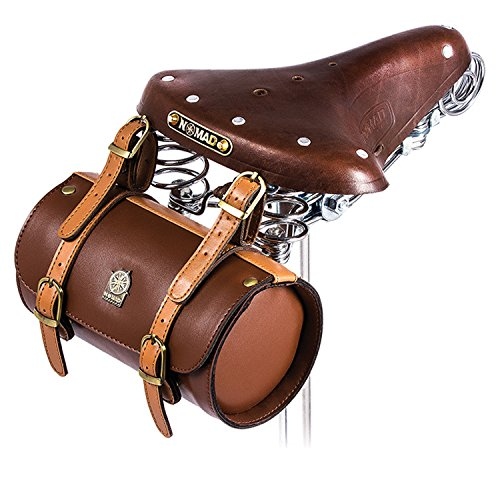 Comfortable Soft Vintage Bicycle Saddle Tail Handlebar Tools Bag, Cylindrical, Handmade 4