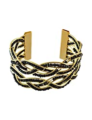 Black Beads Gold Cuff Bracelet For Women::Girls By Sarah