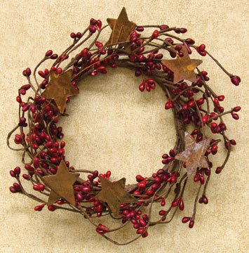 Pip Berry Ring Rusty Stars Red Burgundy Berries Country Primitive Floral Décor