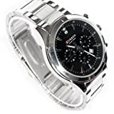 New Luxury Elegant Qaulity Sport Men's Stainless Steel Wrist Watch (Black Case & Silver Chain)