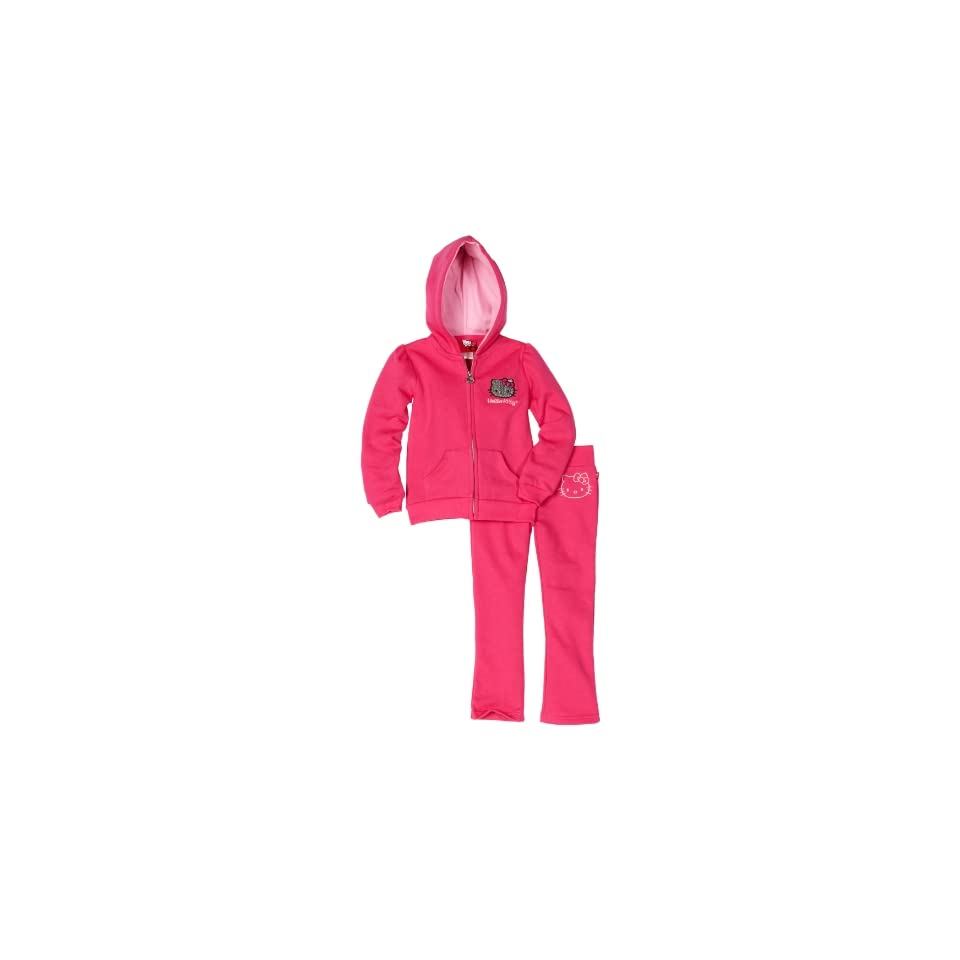 Hello Kitty Little Girls Fashionable Mini Sequined Fleece Active Wear Set, Fuschia Purple, 2T