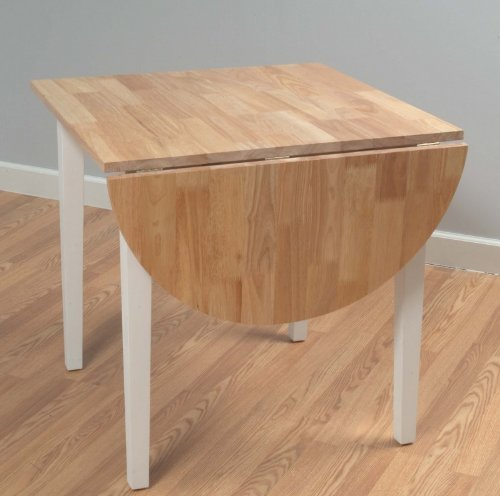 Natural white wood finish tiffany drop leaf dining table for White dining table with leaf