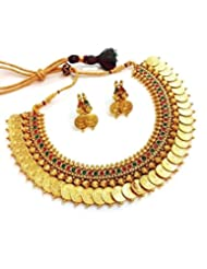 YouBella Traditional Red And Green Temple Coin Necklace Set For Women