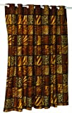 Carnation Home Fashions EZ On No Hooks Needed! 70 by 84-Inch Fabric Shower Curtain, X-Long, Wild Encounters, Browns/Earthtones