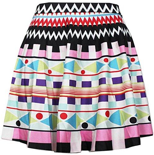 Mini gonna a pieghe donne ragazze Casual vita alta vita elasticizzato svasata (Colorful Geomerics)