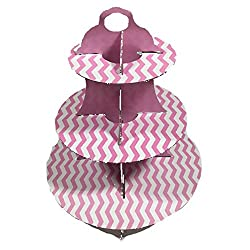 PrettyurParty Pink Chevron Cupcake Stands