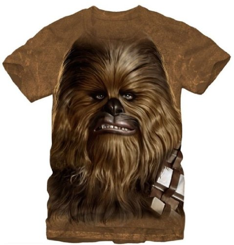 Small Big Face Chewy Chewbacca Star Wars Sublimation Mens T-shirt S