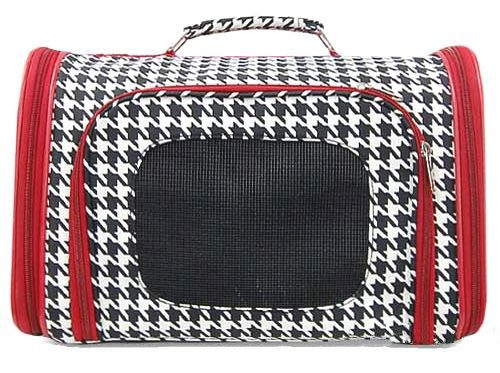 Houndstooth Dog Cat Soft-Sided Pet Carrier Medium, 16″ Red
