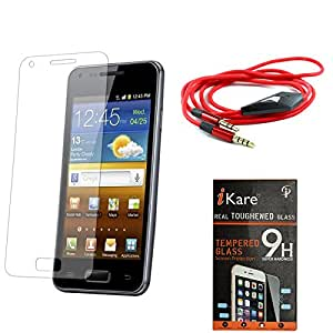 iKare Pack of 9 Tempered Glass for Micromax Canvas Android One A1 + 3.5mm Flat AUX Cable with Mic