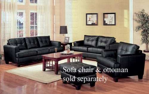 Buy Low Price Coaster 2pc Sofa & Loveseat Set with Wooden Legs Contemporary Black Leather (VF_Livset-501681-501682)