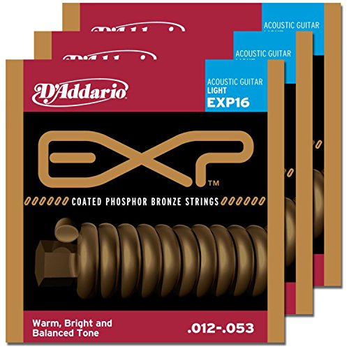 3 Sets of D'Addario EXP16 Coated Phosphor Bronze Wound Light Acoustic Strings (D Addario Exp compare prices)