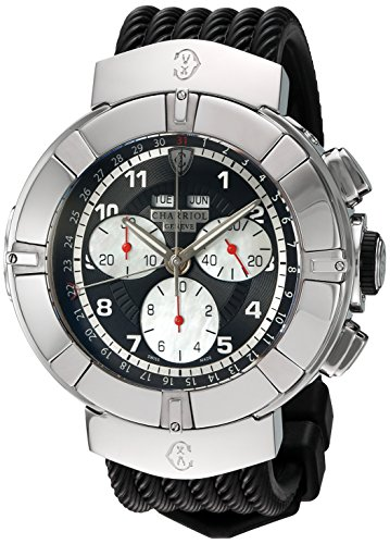 Charriol-Mens-Celtica-Swiss-Quartz-Stainless-Steel-and-Rubber-Dress-Watch-ColorBlack-Model-C44S173001