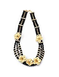 Aarya 24kt Gold Foil Flower Necklace With Black Crystal And Diamond Bar For Women
