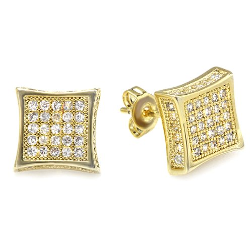18K Yellow Gold Plated Clear CZ Cubic Zirconia Kite Shaped Hip Hop Iced Cube Stud Earrings (10 mm x 10 mm )