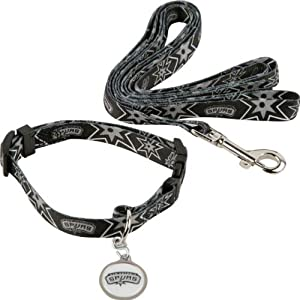 San Antonio Spurs Dog Collar & Leash Set by Hunter