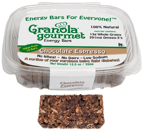 Granola Gourmet Chocolate Espresso ORIGINAL RECIPE Energy Bars, Value-Pack, 10-Count 1.25 oz.  Bars (Pack of 2)