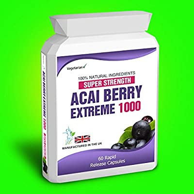 60 Acai Berry Extreme 1000 Pure Detox Fat Burner Dietary Supplement Capsules Slender Product