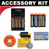 Deluxe Accessory Kit with 8 AA Rechargeable Batteries + Rapid Charger For The Canon Powershot A490, A495 Digital Camera