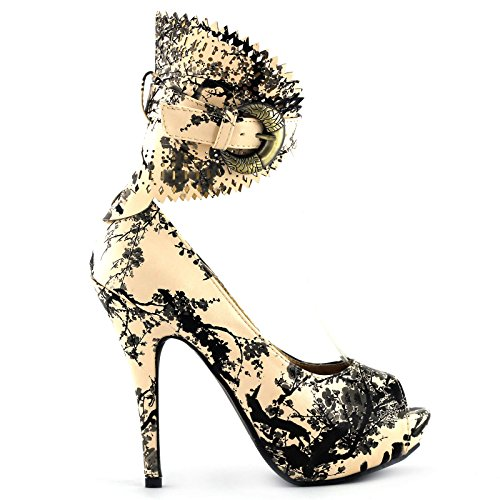 Show Story Beige And Black Bamboo Chinese Ink And Wash Buckle Ankle Cuff Pumps,LF30402BX37,6US,Beige(Bamboo)