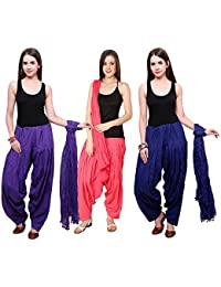 Fashion Store Combo Of Womens Solid Cotton Rayo Blue Navy Blue And Peach Best Ethnic Comfort Punjabi Patiala Salwar...