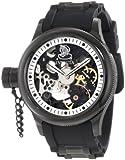 Invicta Men's 1846 Russian Diver Mechanical Black Skeleton Dial Black Polyurethane Watch
