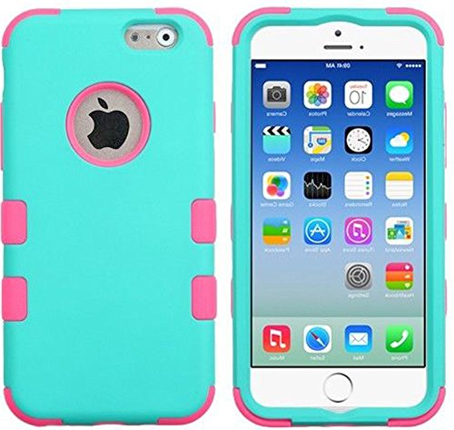 "Mylife Lightly Turquoise {Heavy-Duty Colored Design} Neo Hybrid Armor Case For The New Iphone 6 (6G) 6Th Generation Phone By Apple, 4.7"" Screen Version (Two External Snap On Hard Protector Plates + Full Body Internal Soft Silicone Bumper Gel Protection) front-53150"