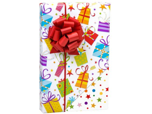 Reversible Funky Gifts Or Stars & Dots Birthday Party Gift Wrap 16 Foot Roll front-269909