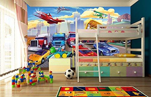 Kinderzimmer Tapeten Feuerwehr : Fototapete Kinderzimmer Tapete Cars Planes – Autos Flugzeuge – Race